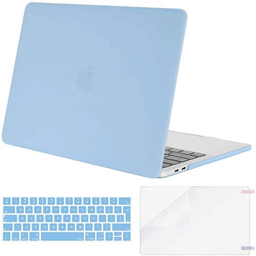 MOSISO MacBook Pro 13 Case 2019 2018 2017 2016 Release A2159 A1989 A1706 A1708, Plastic Hard Case & Keyboard Cover & Screen Protector Compatible with MacBook Pro 13, Airy Blue