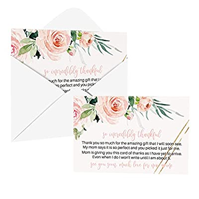 Blush Greenery Baby Shower Thank You Cards with Envelopes (25 Pack) Girls Rustic Graceful Flower Theme – Pink Gold - Babies Stationery Set by Paper Clever Party from Paper Clever Party