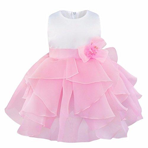 IEFIEL Vestido de Bautizo Princesa para Bebé Niña Recién Nacido (3-24 Meses) Vestido de Fiesta Flor Organza Rosa 12-18 Meses