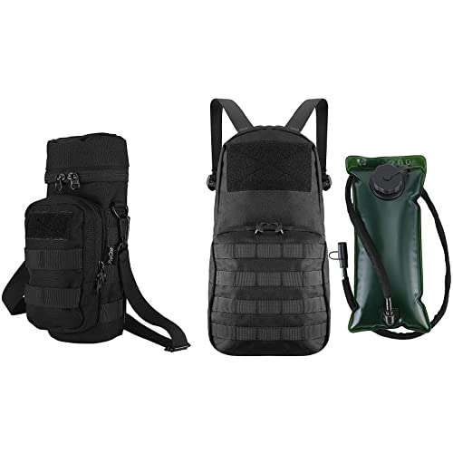 ProCase Water Bottle Pouch Bundle with Tactical MOLLE Hydration Pack Backpack 1000D with 2L BPA Free Water Bladder