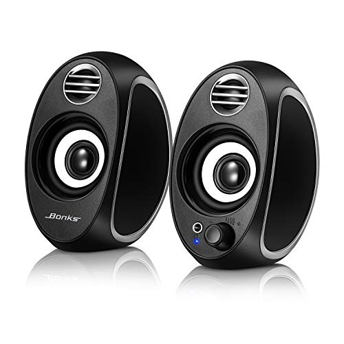 10W Computer Speakers, BONKS PC Powered Speakers USB Speaker Monitor Speakers for Desktop Computer/PC/TV/Laptop Gaming Speaker