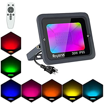 Dimmable 30W RGB LED Flood Lights with Remote Control, Color Changing Floodlight Indoor, IP65 Waterproof Outdoor LED Spotlights, 16 Colors 3 Modes, Colored Lights Decorative Garden Lighting