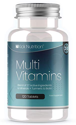 Multivitamins Extra Inc Enhanced Zinc/Vitamin C + D Plus Turmeric - (27 Key Nutrient Ingredients - UK's Largest Amount) - 120 Tablets (4 Month Supply) for Both Men & Women - Suitable for Vegetarians