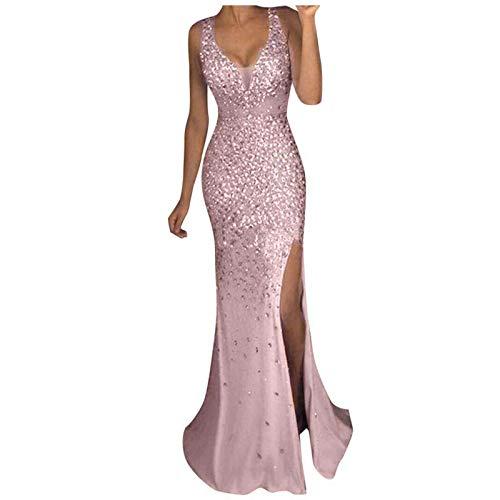 Paillettenkleid Damen Abendkleider Lang Elegant für Hochzeit Glitzer mit Schlitz Sexy V-Ausschnitt Cocktail Kleid Ballkleid