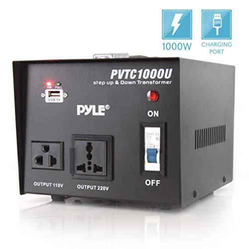 Step Up and Down Converter - 1000 Watt Voltage Converter Transformer w/ USB Charging Port, Power Adapter, AC 110 / 120 to 220 / 240 Volt Vice Versa, 110V/120V/220V/240V Input Voltage - Pyle PVTC1000U