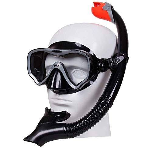 ZHANGXJ Seguro Easybreath Gafas de Bucear Set de Buceo Ajustable Gafas de Natación Adultos Tubo Respirador Máscara de Buceo Máscara Snorkel Anti-Niebla Antideslizante (Color : Black)