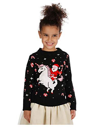 Girls' Santa Riding Unicorn Ugly Christmas Sweater Toddler Xmas Toddler Sweater 5T Multicolor