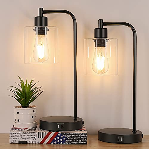 2-Pack Industrial Touch Control Table Lamp, 3 Way Dimmable 2 USB Charging Ports Bedside Nightstand Reading Lamp with Clear Glass Shade, 6W 2700K LED Bulb for Bedroom, Living Room, Office