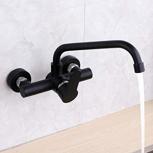 Wasserhahn Küche Wandmontage Wandanschluss Küchenarmatur Schwarzer Wand Mischbatterie für Küche Waschbecken, Kalt Und Warmwasser Einhebelmischer Flexibel Spüle 0 Edelstahl-Schwarzer Qizi Tube