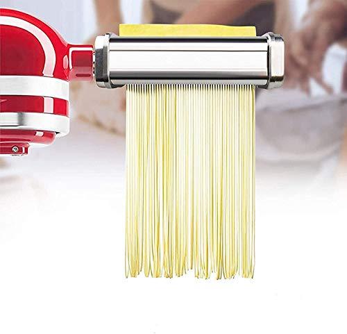 DUWIN Pasta-Roller & Cutter Aufsatz 3-In-1 Nudelaufsatz, Für Alle Kitchenaid Dreiteiliger Nudelvorsatz Küchenmaschine, Inklusive Nudelroller, Pasta Set Zubehör,Spaghettischneider, Fettuccine Cutter