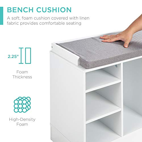 Best Choice Products 46in Multifunctional Space Saving Organization Storage Shoe Rack Bench for Entryway, Bedroom, Living Room w/Padded Seat, 10 Cubbies - White/Gray