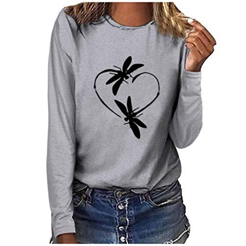 GOKOMO Damenmode Plus Size Print Rundhals Langarm T-Shirt Bluse Tops(Grau,Medium)