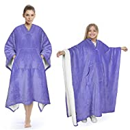Sherpa Wearable Blanket Super Soft Comfy Plush Fleece Poncho for Adult Women Men Kids Throw Wrap Cover Indoors or Outdoors, 55''x 80'' Purple