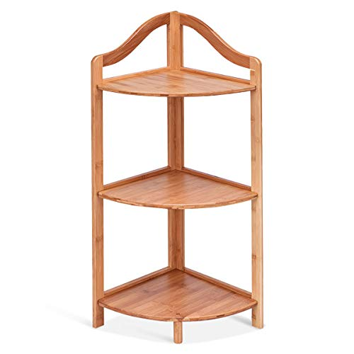 Giantex 3 Tier Corner Shelf Free Standing Corner Rack Tower Organizer Living Room Bathroom Kitchen Shelving Shelf Storage (Natural)