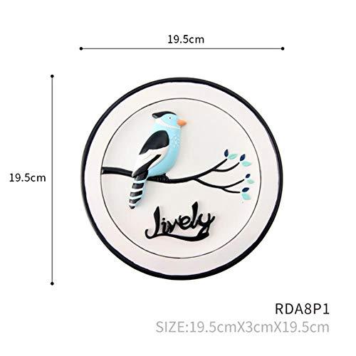 Roogo bloem en vogel schilderij huisdecoratie 3D hars cirkelvormige plaat muur opknoping aquarel stijl cadeau voor vrienden, leeuwerik
