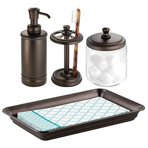 mDesign 4er-Set Badgarnitur – Set, bestehend aus Handtuchablage, Apothekerglas, Zahnbürstenhalter und Seifenspender – Badaccessoires für den Waschtisch – Bronze/durchsichtig