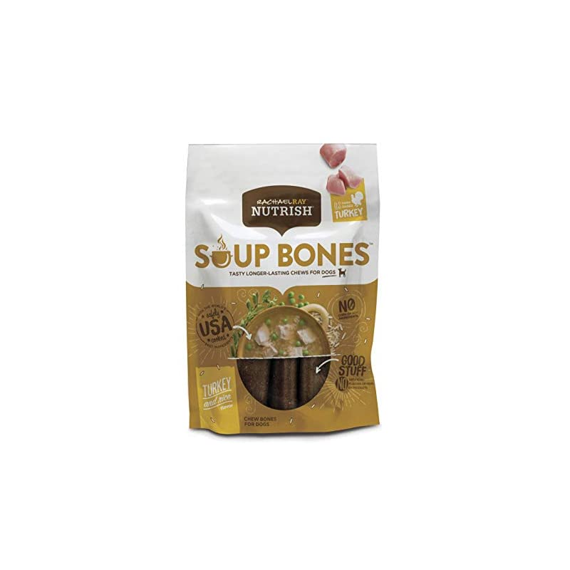 dog supplies online rachael ray nutrish soup bones dog treats, real turkey & rice flavor, 24 bones