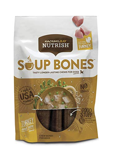 Rachael Ray Nutrish Soup Bones Dog Treats, Real Turkey & Rice Flavor, 24 Bones