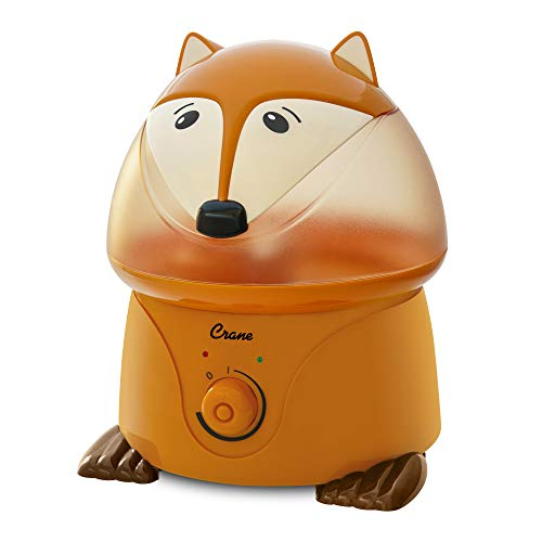 Crane Adorables Ultrasonic Cool Mist Humidifier, Filter Free, 1 Gallon, 500 Sq Ft Coverage, Whisper Quite, Air Humidifier for Plants Home Bedroom Baby Nursery and Office, Fox