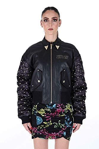 Versace Jeans Couture lederen jas zwart met klinknagels goud MOD.ECHUA90P - UPPP0O Tess.40291 899 Nappa IR Sheep DD