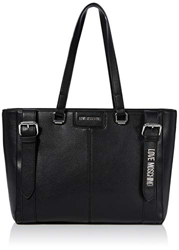 Love Moschino Damen Borsa Pebble Grain Pu Tragetasche (Tote bag), Schwarz (Nero), 28x42x13 Centimeters