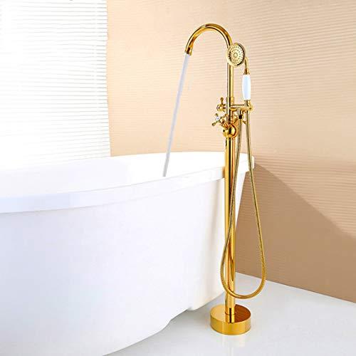 Tochange Badezimmer Duschkabine, Goldener Fußboden-Steh Badewanne Wasserhahn Set Dusche Wasserhahn Keramik Ventil Warm-Und Kaltwasser Mischer Tap