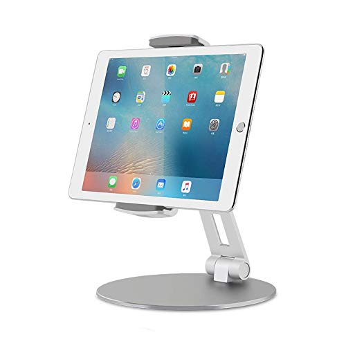 Thingy Club Tablet Stand Holders with Adjustable Range and Height-Viozon Aluminum Stand for ipad/ipad pro/ipad Mini/Cellphone/Kindle Desk Holder fits 4-14inches, 360° Swivel Adjustable Base (Silver)