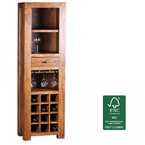 WOHNLING Hausbar Massivholz Sheesham Weinbar Vitrine Landhaus-Stil Barschrank Weinregal Aufbewahrung Flaschen Glöser Weinschrank Natur-Produkt Getrönkeschrank freistehend dunkelbraun Echt-Holz Minibar