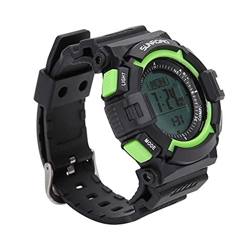 Dibiao Reloj Deportivo Multifunción Impermeable Altímetro Brújula Cronómetro Barómetro Podómetro para Todos Los Deportes Negro Verde