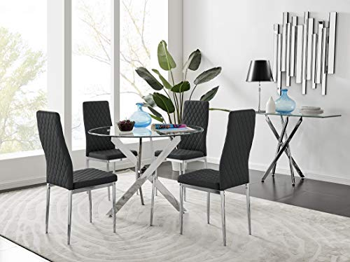 Novara Modern Round Chrome Metal And Clear Glass Dining Table And 4 Stylish Faux Leather Chrome Leg Milan Dining Chairs Set (Dining Table + 4 Black Milan Chairs)
