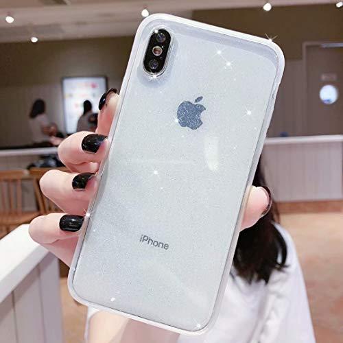 Anynve iPhone XR Case Bling Clear Glitter Sparkle Case for Women [Air Cushion Anti-Shock Matte Edge Bumper Design] Cute Slim Soft Silicone Gel Phone Case Compatible for Apple iPhone XR 6.1''-Clear