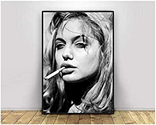 Angelina Jolie Smoking Girl Pop Pretty Sexy Woman Poster Bar Prints Wall Art Picture for Living Room Home Decor Canvas Print -50x70cm Sin marco