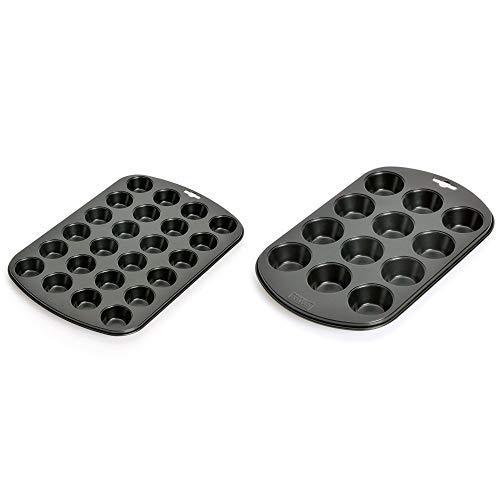 Kaiser Inspiration Mini-Muffinform für 24 Muffins 38 x 27 cm & Inspiration Muffinform, für 12 Muffins, 38 x 27 cm, Standardgröße antihaftbeschichtet kurze Backzeit für süße und herzhafte Rezepte