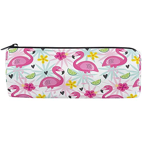 Tropische Flamingo Palm Citroen Vat Katoen Pen Potlood Tas, Bloemen Potlood Pouch Case Make-up Cosmetische Opbergtas Stationery Reizen