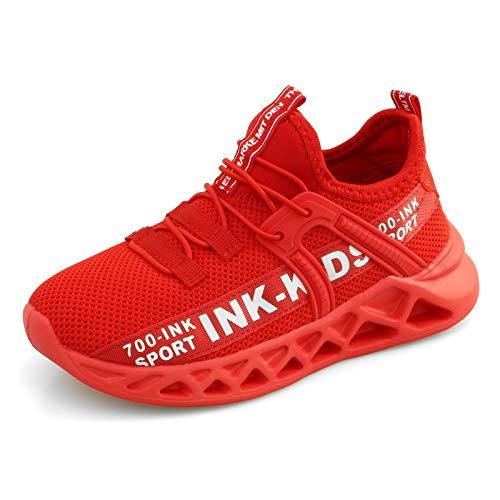 Chaussures de Course Garçons Outdoor Sneakers Enfant Chaussures de Running Mode Basket Garçon Mesh Sneaker Chaussures de Sport, Rouge, 34