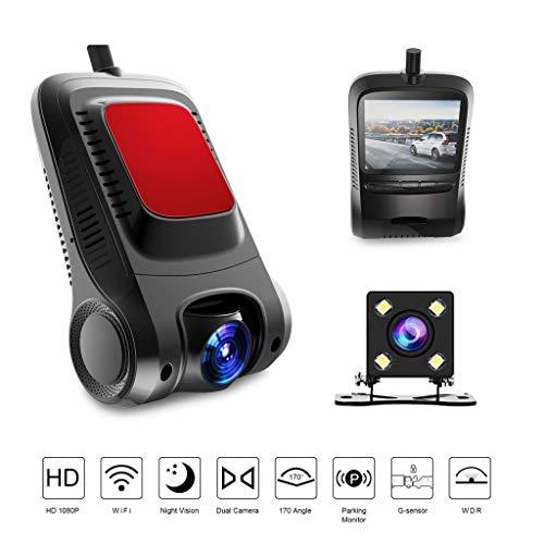 XTMC WiFi Driving Recorder, verdeckte Einzel- / Doppelaufzeichnung HD 1080P Starlight Night Vision, zyklische Bewegungserkennung mit G-Sensor und Weitwinkel von 170 °,Silver-Single