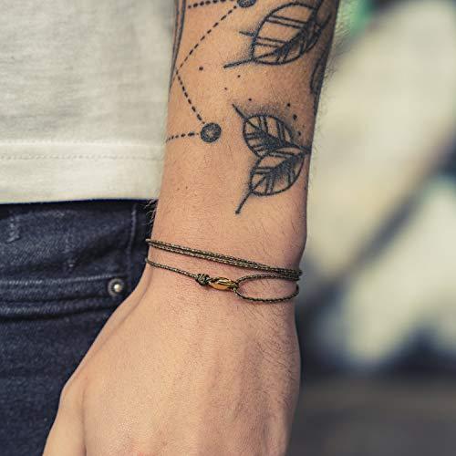 Dezentes Armband für Herren und Damen - edles Wickelarmband für Männer - Minimalistischer Schmuck - 100% wasserfest & stufenlos verstellbar - Karabiner-Haken Armband - Gold Olive Beige