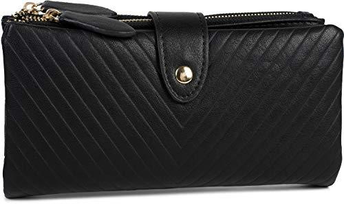 styleBREAKER Damen Portemonnaie mit V-Förmig geprägter Struktur, Druckknopf, Reißverschluss Geldbörse 02040124, Farbe:Schwarz