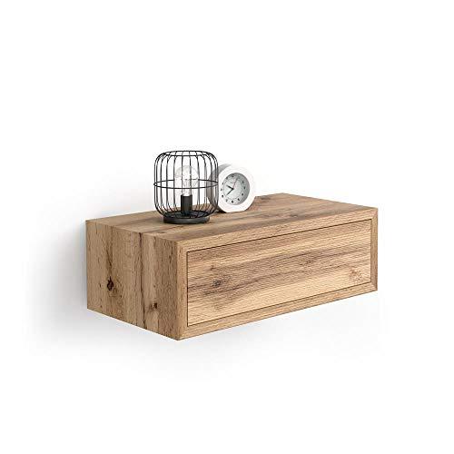Mobili Fiver, Table de chevet suspendue Riccardo, chêne rustique, mélaminé, fabriquée en Italie, disponible en plusieurs couleurs