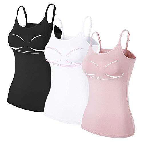 Damen BH-Hemd Bügelloser Unterhemd 3-er Set Träger Tops,Schwarz Weiß Rosa,Medium