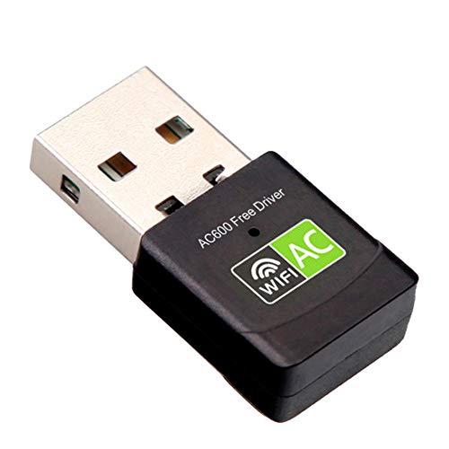 Adaptador Antena WiFi USB - Mini USB WiFi Receptor Dual Band 2.4G/5GHz AC 600Mbps, Antena WiFi para PC Sobremesa, Portatil, Tablet - Realtek Soporta Windows Sin Drivers (Driver Free) Inivech