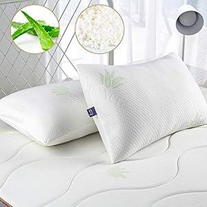 BedStory Almohadas Aloe Vera con Funda 50x75cm Pack 1 Almohada Viscoelastica Funda con Cremallera Lavable Conveniencia Almohada Antiácaros Esponja Rota Relleno de Almohadas de Hotel