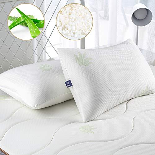 BedStory Almohadas Aloe Vera con Funda 42x70cm Pack 2 Almohada Viscoelastica Funda con Cremallera Lavable Conveniencia Almohada Antiácaros Esponja Rota Relleno de Almohadas de Hotel