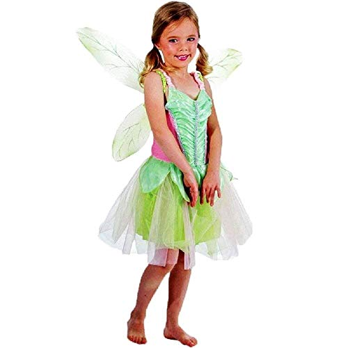 Costume - Travestimento - Carnevale - Halloween - Fata - elfo dei Boschi - Trilli - Campanellino - Trilly - Tinker Bell - Verde - Bambina - Taglia M - 4-5 anni - Idea regalo natale compleanno