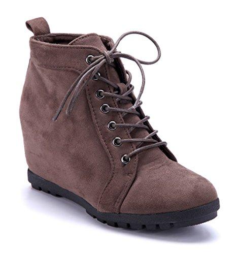 Schuhtempel24 Damen Schuhe Keilstiefeletten Stiefel Stiefeletten Boots Khaki Keilabsatz 9 cm