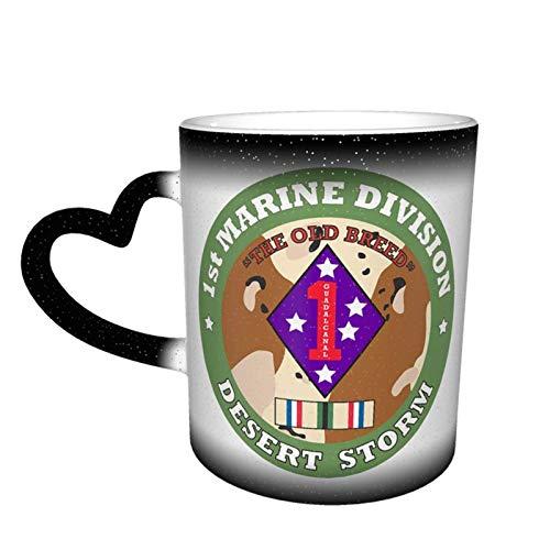 Hdadwy 1st Marine Division Desert Storm Taza de cielo estrellado que cambia de color Taza mágica de café en forma de corazón