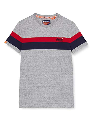 Superdry Ol Classic YD Stripe Tee T-Shirt, Grigio (Collective Dark Grey Grit 9ss), 2XL Uomo