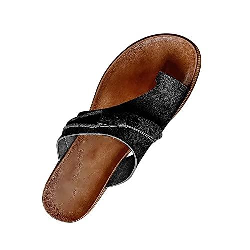 UCK Carina Damen-Sandalen, stilvolle orthopädische Sandalen, Frauen Ballenzeh-Sandalen 2021 Sommer Bequeme Plattform-Sandalen, flache Ferse, Flip-Flops, Outdoor-Zehensteg-Sandale, 38 EU - Schwarz
