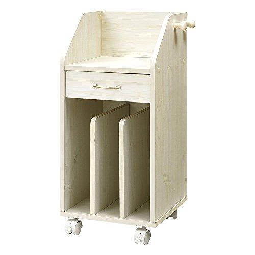 ぼん家具 ランドセルラック キャスター付き 【完成品】 木製 ワゴン 幅30cm ホワイト