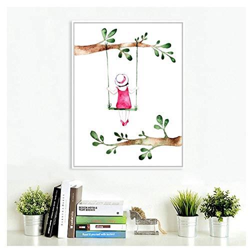 MULMF Pastoral Style Spring Girl Kunstdruk Afbeeldingen Mooi meisje op schommel canvas kunst schilderij baby meisjes kamerdecoratie - 50X70cm geen lijst